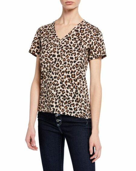 Veronica Beard leopard print v-neck tee. Details at une femme d'un certain age.