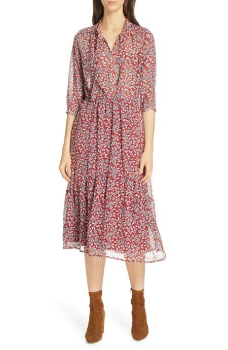 BASH red floral midi dress. Details at une femme d'un certain age.