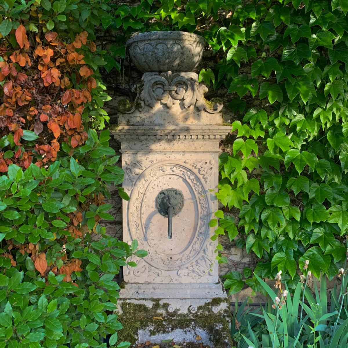 Garden fountain in Levernois, France. More at une femme d'un certain age.