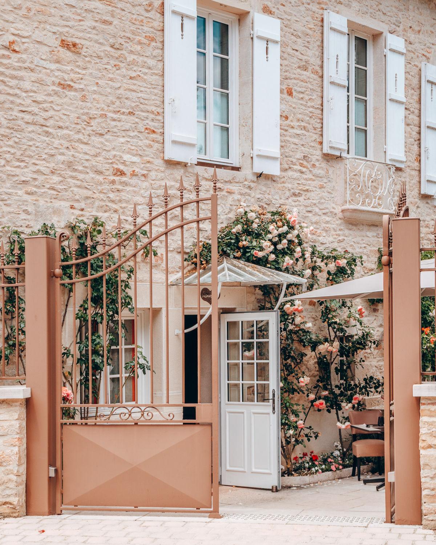 Entrance to garden bistro in Levernois, France. More at une femme d'un certain age.