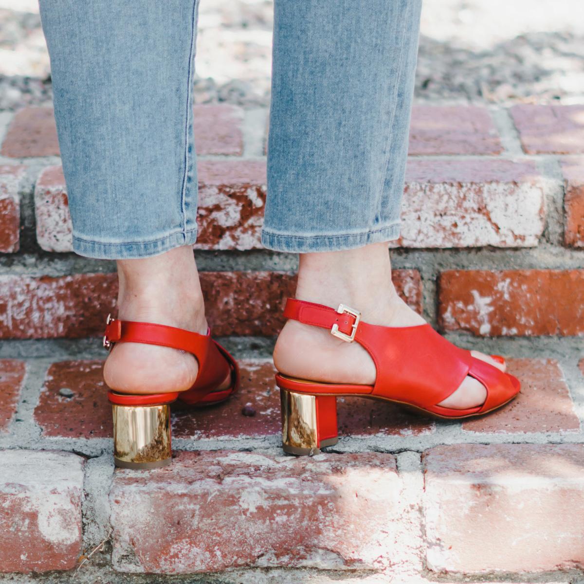 Back view of Clergerie Adrienne sandals. Love those gold heels! Details at une femme d'un certain age.