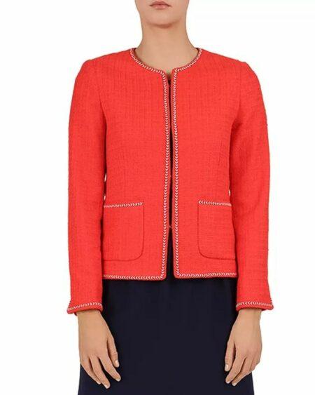 Gerard Darel red tweed jacket with braid trim. Details at une femme d'un certain age.
