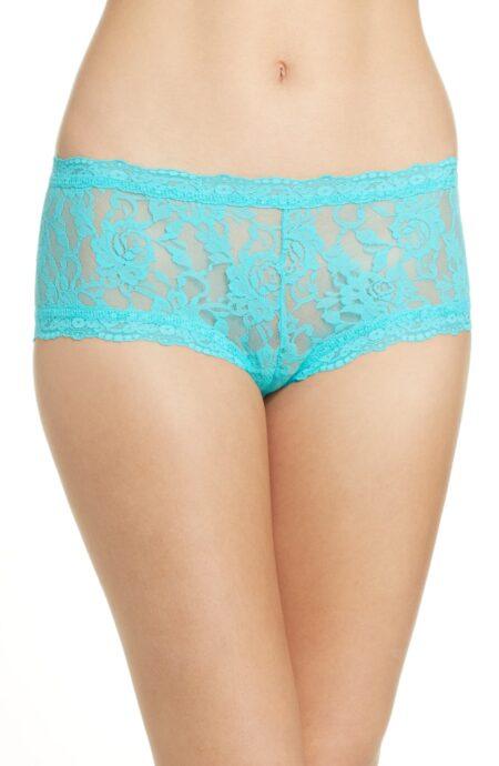 Hanky Panky lace boyshorts in aqua blue on sale. Details at une femme d'un certain age.