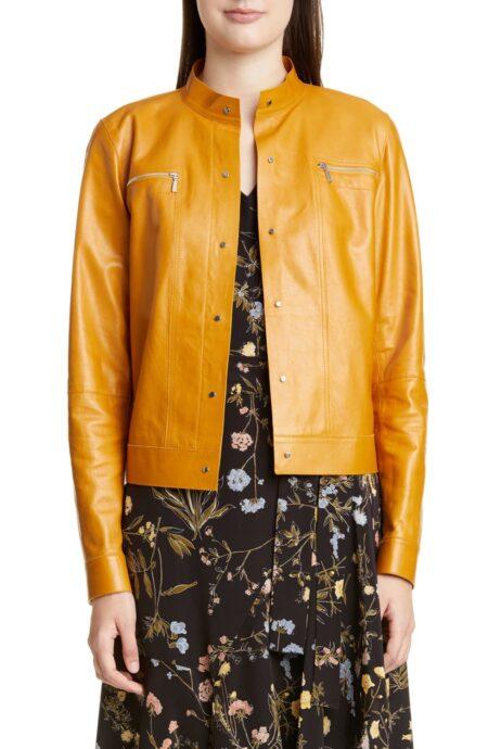 Lafayette 148 New York lambskin jacket. Details at une femme d'un certain age.