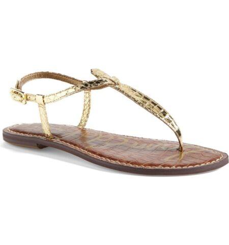 Sam Edelman gold snake t-strap sandals. Details at une femme d'un certain age.