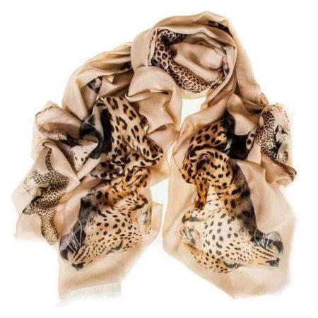 Black.co silk cashmere leopard print scarf. Details at une femme d'un certain age.