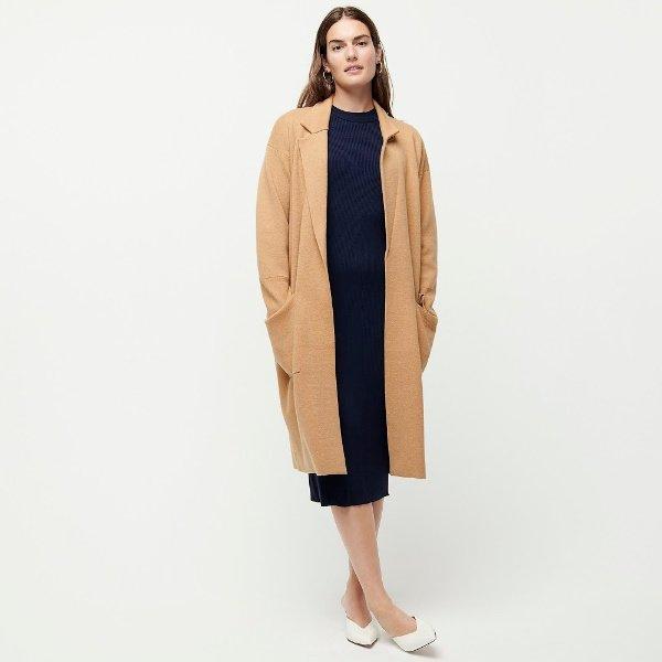 J.Crew Ella sweater jacket in Camel. Details at une femme d'un certain age.