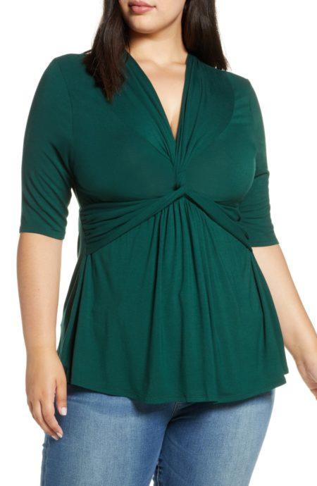 Kiyonna twist front top Plus size in Hunter Green. Details at une femme d'un certain age.