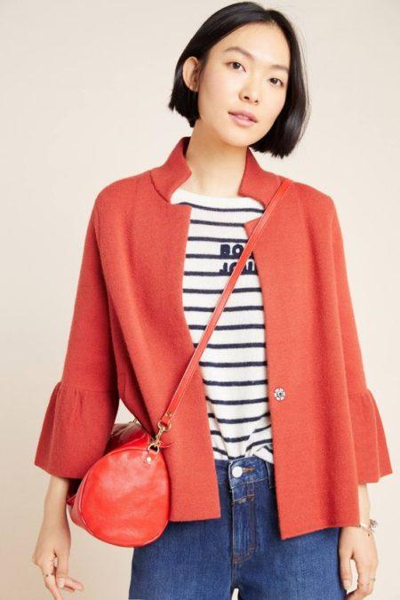 Anthropologie Blaise sweater jacket in orange. Details at une femme d'un certain age.