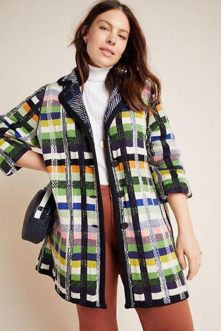 Anthropologie Shanley plaid sweater coat. Details at une femme d'un certain age.