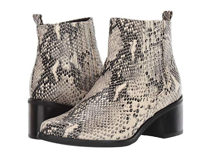Blondo snakeprint water resistant ankle boots. Details at une femme d'un certain age.