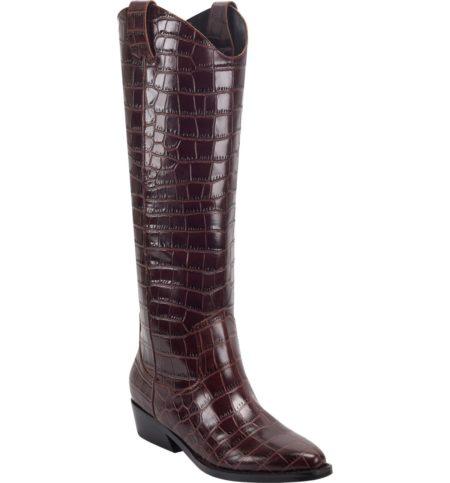 Marc Fisher croc western boots dark brown. Details at une femme d'un certain age.