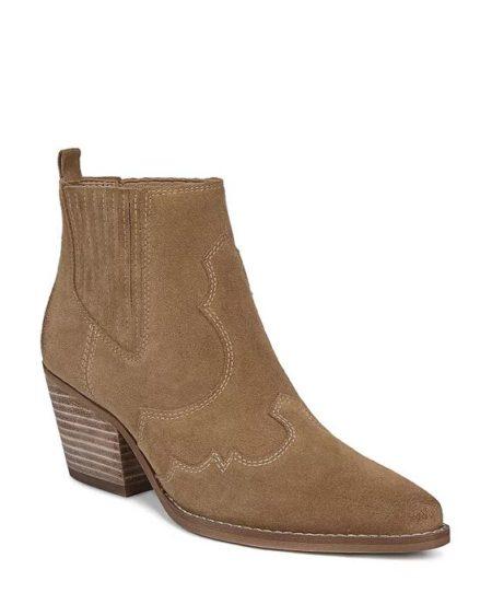 Sam Edelman Winona western style bootie taupe suede. Details at une femme d'un certain age.