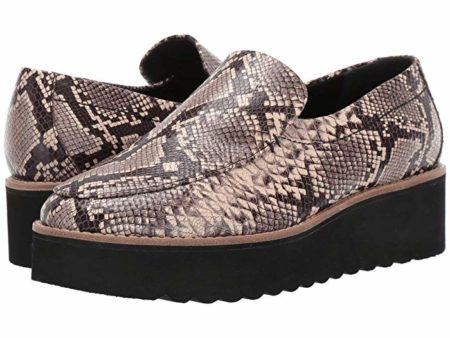 Vince Zeta platform loafers in reptile print. Details at une femme d'un certain age.