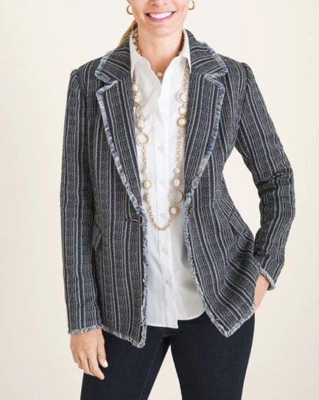 Chico's navy striped tweed jacket. Details at une femme d'un certain age.