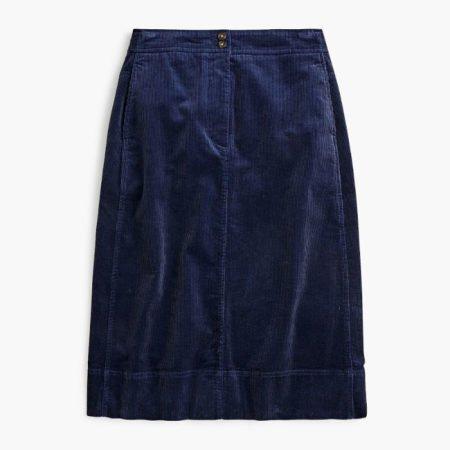J.Crew corduroy skirt navy. Details at une femme d'un certain age.