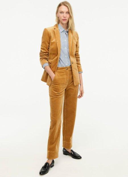 J.Crew Parke blazer and stovepipe pants in caramel corduroy. Details at une femme d'un certain age.