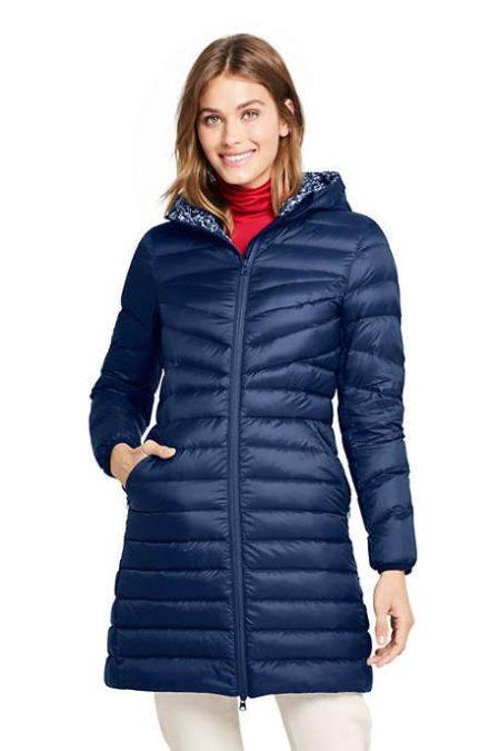 Lands End packable down coat for travel. Details at une femme d'un certain age.