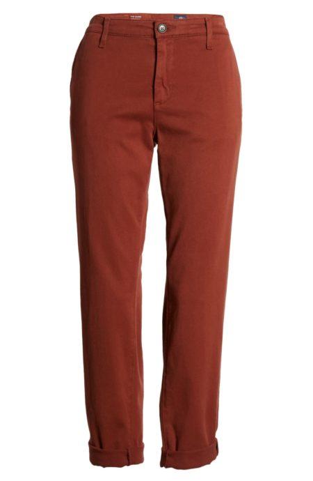 On sale: AG Caden trousers in crimson. Details at une femme d'un certain age.