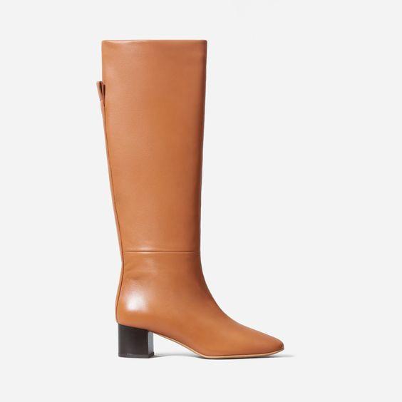Everlane knee boots in Adobe. Details at une femme d'un certain age.