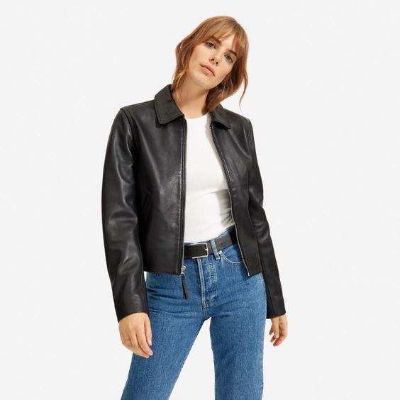 Everlane modern leather jacket in black. Details at une femme d'un certain age.