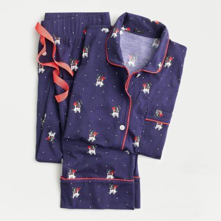 J.Crew cotton knit pajamas with French bulldog print. Details at une femme d'un certain age.