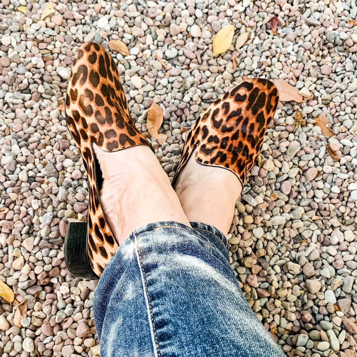Detail: Susan B wears Mercedes Castillo leopard print loafers. Details at une femme d'un certain age.