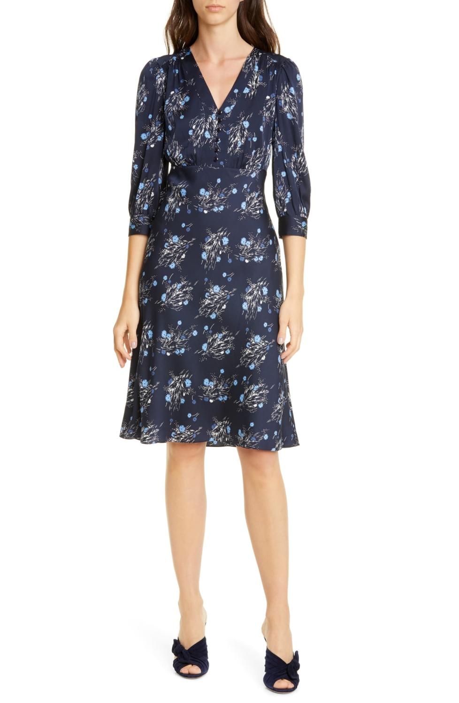 Nordstrom Signature navy floral print silk dress on sale.