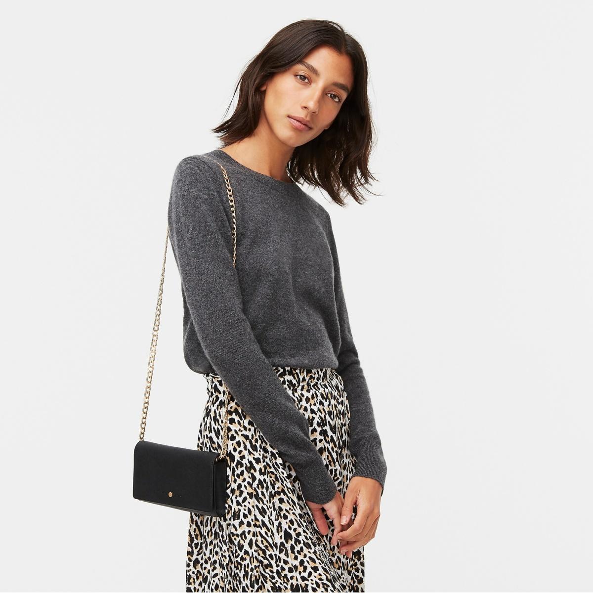 J.Crew everyday cashmere crewneck sweater charcoal heather and leopard print skirt. Details at une femme d'un certain age.