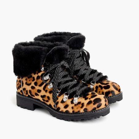 J.Crew Nordic boots in leopard print. Details at une femme d'un certain age.