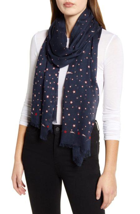 Longchamp le pliage Club scarf in navy. Details at une femme d'un certain age.