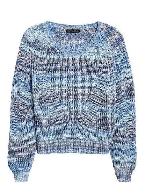 Banana Republic spacedye striped sweater blue. Details at une femme d'un certain age.