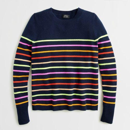 J.Crew navy stripe cashmere sweater. Details at une femme d'un certain age.