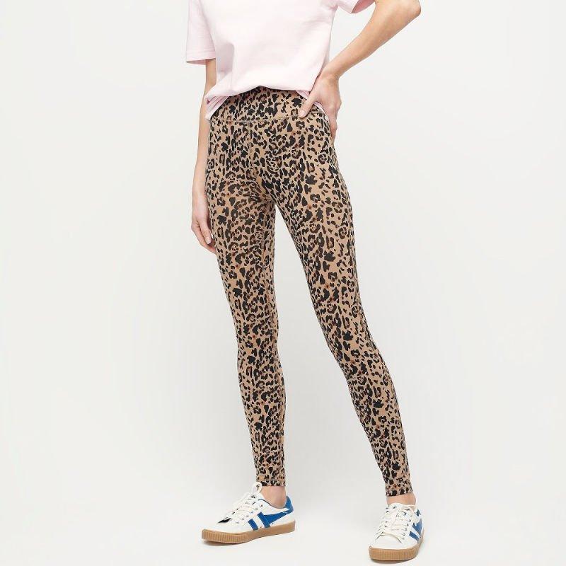 J.Crew leopard print leggings. Details at une femme d'un certain age.