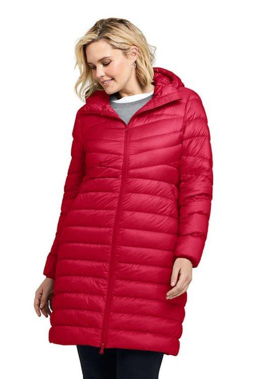 Lands' End red packable down coat in Plus. Details at une femme d'un certain age.