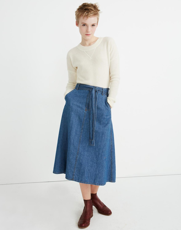Madewell denim a-line skirt with pockets. Details at une femme d'un certain age.