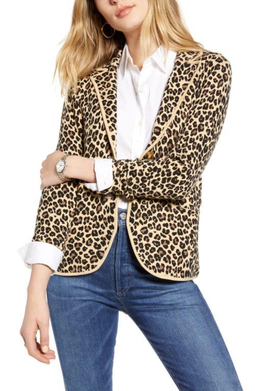 1901 leopard print cotton blend sweater blazer. Details at une femme d'un certain age.
