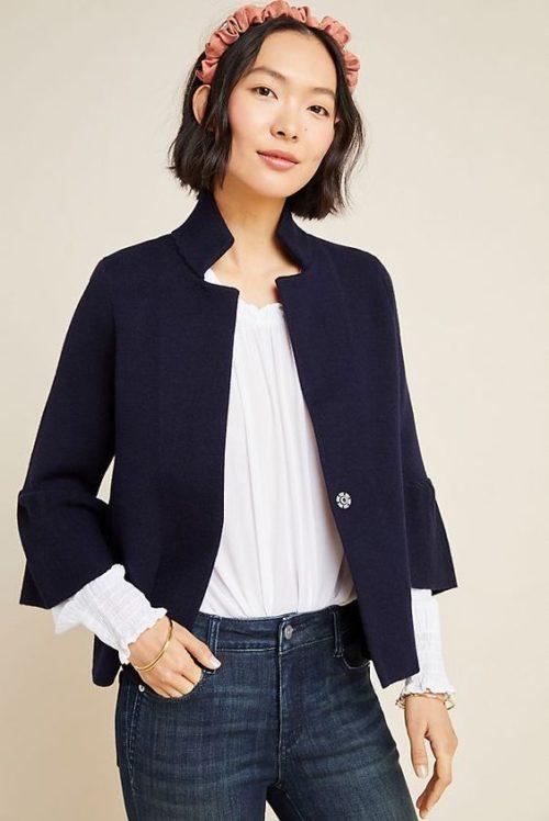 Anthropologie Blaise sweater jacket in navy. Details at une femme d'un certain age.