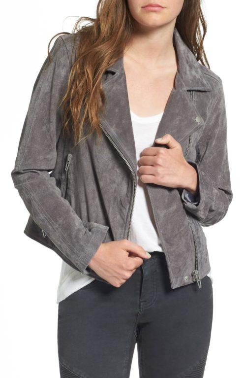 Blank NYC suede moto jacket on sale. Details at une femme d'un certain age.