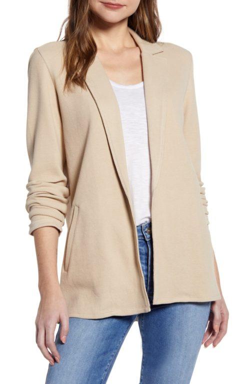 Caslon cotton knit jacket in tan. Details at une femme d'un certain age.