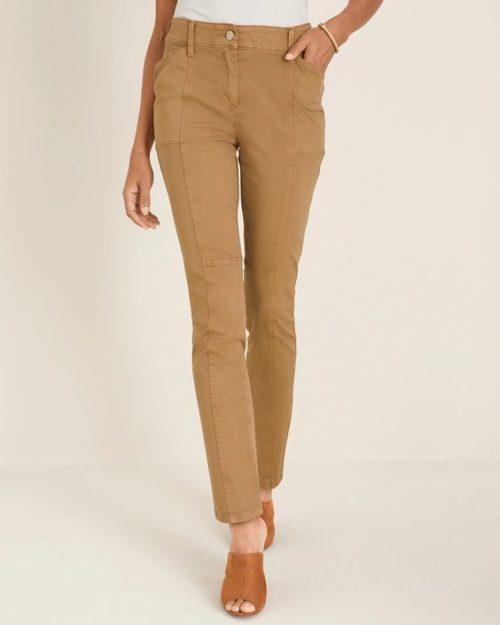 Chico's secret stretch utility pants in Camel. Details at une femme d'un certain age.