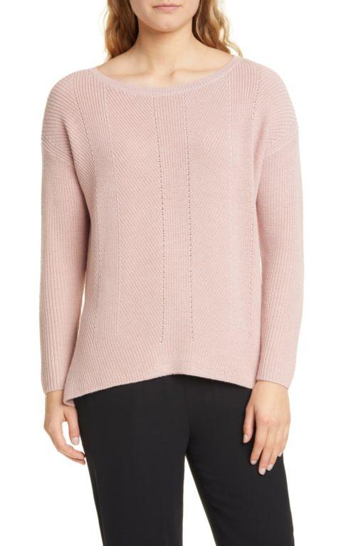Eileen Fisher pointelle merino wool sweater. Details at une femme d'un certain age.
