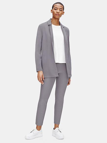 Eileen Fisher tencel ponte knit pants and jacket in Zinc. Details at une femme d'un certain age.
