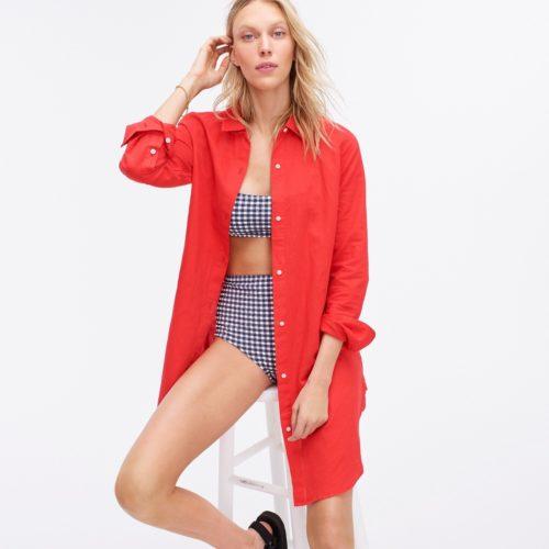 J.Crew linen swimsuit cover up in Belvedere Red. Details at une femme d'un certain age.