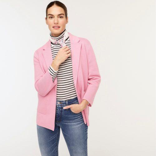 J.Crew Sophie sweater jacket in Bohemian rose. Details at une femme d'un certain age.