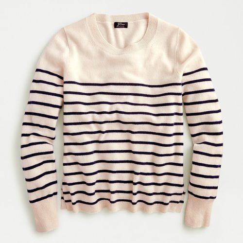 J.Crew striped cashmere sweater. Details at une femme d'un certain age.