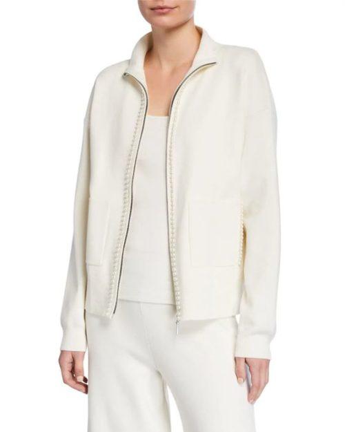 Joan Vass zip sweater jacket with pearl-like trim. Details at une femme d'un certain age.