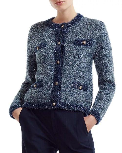 Maje boucle knit sweater jacket. Details at une femme d'un certain age.