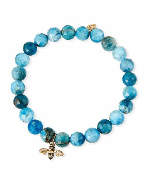 Sydney Evan apatite bead bracelet with bee charm. Details at une femme d'un certain age.