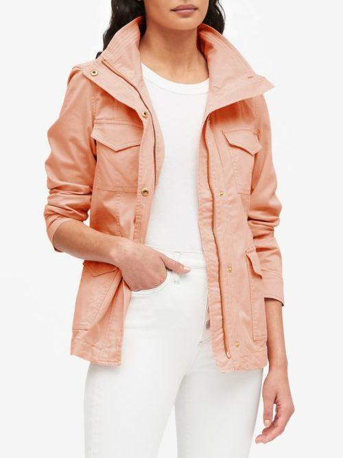 Banana Republic utility jacket in Peach. Details at une femme d'un certain age.